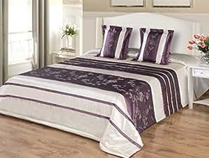 170x210 violett lila creme Tagesdecke Bettüberwurf mit Kissenbezügen 40x40 Satin 120047violett
