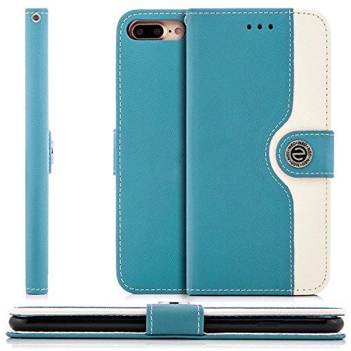 Saxonia Flip Case Tasche Apple iPhone 6 Plus / 6S Plus Hülle Schutzhülle Elegante Handytasche mit Kartenfach Standfunktion Braun-Weiß Blau-Weiß