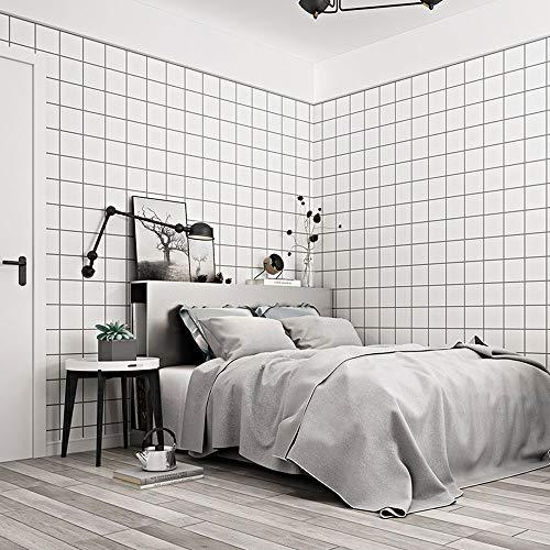 LCTCBZ Moderne Einfachheit Tapete Check Tartan Plaid Weiß Schwarz Tapete Kariert Kariert (Farbe : Weiß) -
