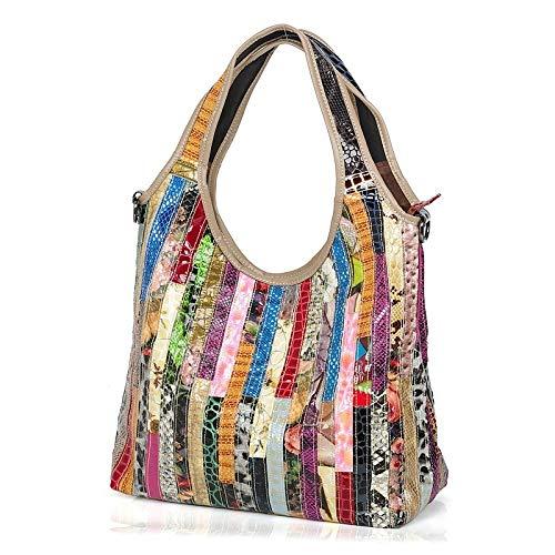 WYGmadlifeqq Leder Rindsleder Schlange Tasche Farbstreifen Casual Gezeiten Tasche Damen Tasche Schulter Messenger Bag -