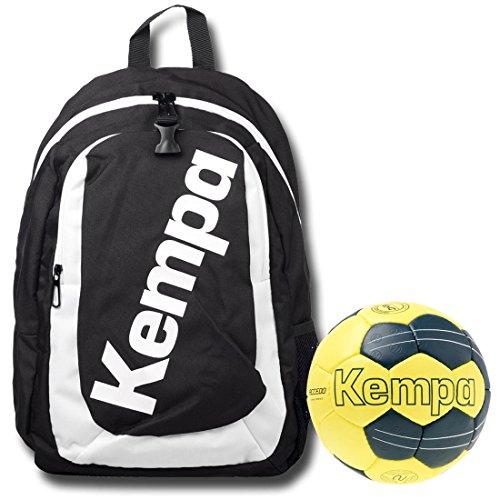 Kempa Zaino Nero incluso Ball rete per bambini con Hand Ball Petrol/Giallo, nero/giallo, Set da 3