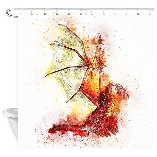 en Duschvorhang Fantasie Tier Red Fire Dragon Kunstwerk Wasserdicht Frbric Duschvorhang für Bad Badzubehör mit Haken 71X71in ()