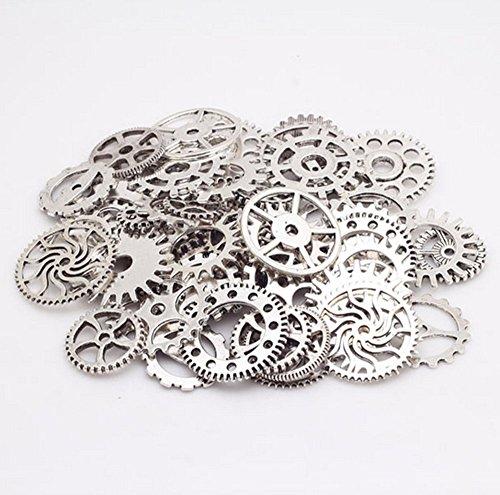asentechuk® 100g/Pack Alloy Mechanische Steampunk Zahnradführung Gear DIY Decor Zubehör handgefertigt Jewelry Accessories silber -