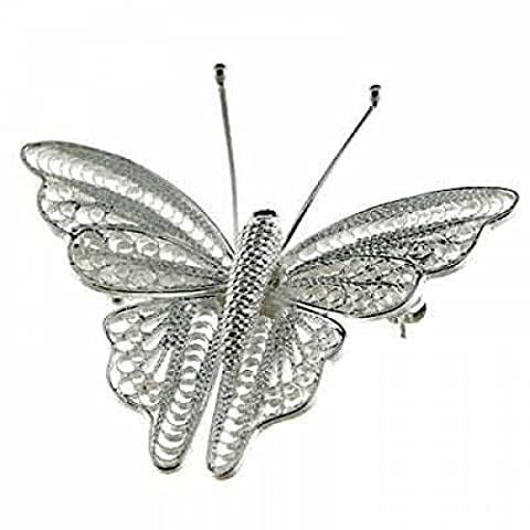Beautiful Brushed Sterling Silver Mesh Filigree Butterfly Pin