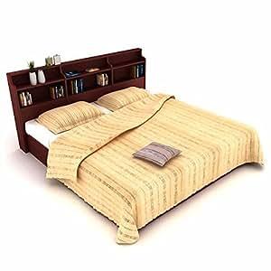 Housefull Calino Queen Size Bed (Mahogany)