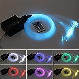 Glasfaser-LED-Licht, 16 W, RGBW, 450 Stück, 0,75 mm, 2 m, für Sternenhimmel + IR-Fernbedienung mit 28 Tasten