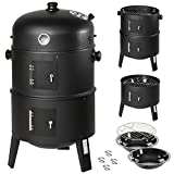 TecTake 3in1 BBQ Holzkohlegrill Barbecue Smoker Räuchertonne Räuchergrill mit Thermostat