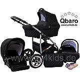 Lux4Kids Q Baro 3 in 1 Cochecito Combinado (asiento del coche incluye adaptadores, cubierta para la lluvia, mosquitero, ruedas giratorias 9 colores)