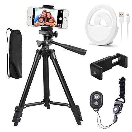 Handy-Stativ aus Aluminium, 106,7cm, für iPhone/Smartphone, Telefon- und Tischhalterung, Bluetooth-Fernbedienung und Auslöser (schwarz) Handy-fall, Htc M7