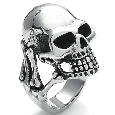 Daesar Stainless Steel Rings Mens Silver Black Bands Skull Rings Vintage Gothic Biker Rings UK:V
