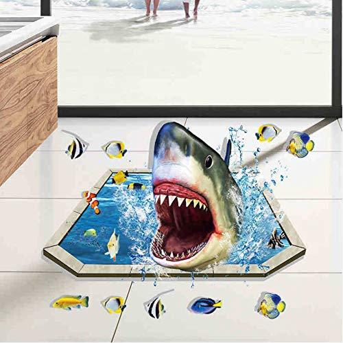 Knncch 3D Cartoon Wandaufkleber Bad Sharks Boden Aufkleber Wandbild Wandaufkleber Wohnkultur Wohnzimmer Kunst Selbstklebende Abnehmbare