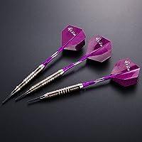 Dardos dardos suaves 3 piezas 18G del torneo Dartset dardos de punta suave Fijar Negro barriles de metal recubiertas de dardos (dardos suaves) con vuelos púrpura