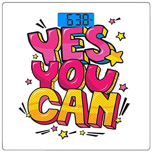 Precision Digital Body Weight Scale Zitat Ultra Slim Gehärtetes Glas Personenwaage Genaue Gewichtsmessungen, Motivation Ja, Sie können Graffiti-Wort-Blase-Stil mit Sternen, Pink Gelb a