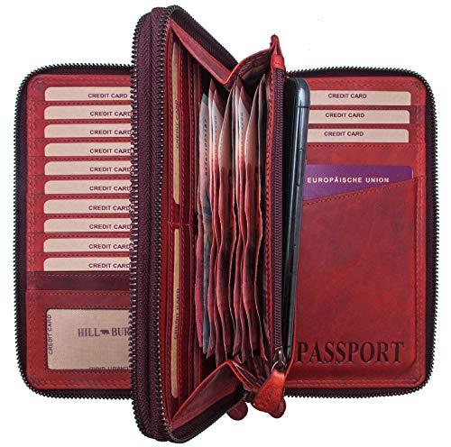 Hill Burry Leder Reisebrieftasche   Dokumententasche - Travel/Wallet aus naturgegerbtem hochwertigem Rindsleder   Organizer/XXL Mappe   Geldbörse Portemonnaie Portmonee (Rot)