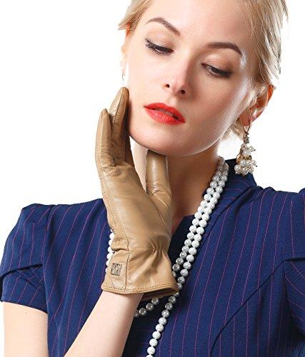 NappaNovum Damen Handschuhe Gr. Large, Camel Non-TouchScreen