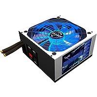 Mars Gaming MPZE750 - Fuente de alimentación gaming para PC (750W, 80 plus silver, PFC activo, cableado semimodular, 10 sistemas de protección, iluminación LED azul, ventilador 14cm), color blanco