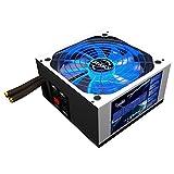 Mars MPZE750 Gaming  - Fuente de alimentación gaming para PC (750W, 80 plus silver, PFC activo, cableado semimodular, 10 sistemas de protección, iluminación LED azul, ventilador 14cm), color blanco