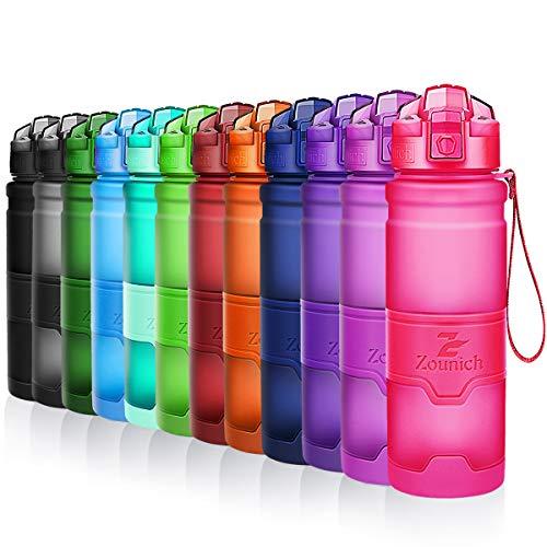 ZOUNICH Trinkflasche Sport BPA frei Auslaufsicher Wasserflasche 1L/700ml/500ml/380ml Kunststoff Sportflaschen für Kinder Schule,Joggen,Fahrrad,öffnen mit Einer Hand Trinkflaschen 1 Liter kohlensäure -