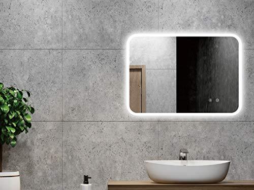 ALLDREI Badspiegel mit Beleuchtung AD39A Antibeschlag Badezimmerspiegel LED Licht, Touch Schalter - Senkrecht/Waagerecht Montage 70 x 50 cm, Wasserdicth IP44, Weiß