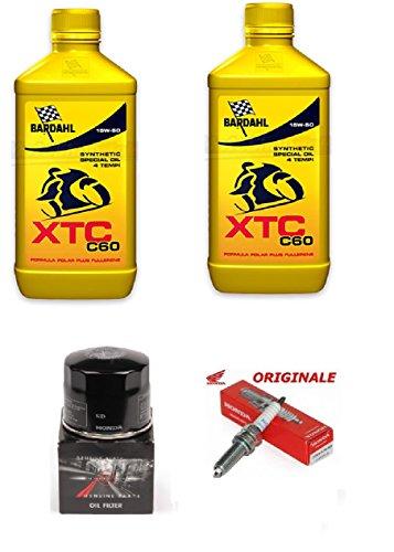 MG Kit Tagliando Originale Honda Sh 300 2007 al 2017 2 LT Olio Bardahl XTC c60 15w50 + Filtro Olio Originale Honda + Candela Originale Ho