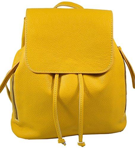 Ital. Echtleder Damen Rucksack Leichter Tagesrucksack Daypack Lederrucksack Damenrucksack Versch. Farben erhältlich(Gelb)