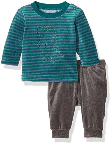 Twins Baby-Jungen Schlafanzug aus Verlours Dino, Mehrfarbig (Grau/Grün-Gestreift 4016), 74