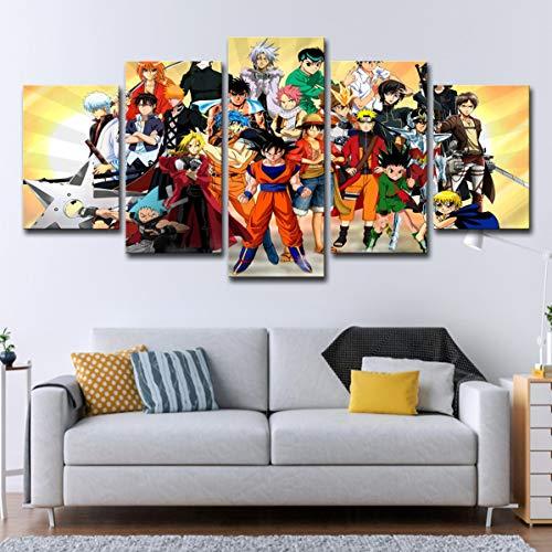 FJLOVE Drucke Auf Leinwand 5 Stück Japanische Anime-Charaktersammlung Dragon Ball Naruto and One Piece Wandkunst Bilder Wohnkultur Für Wohnzimmer Kein Rahmen Nur Leinwand,A,150x75cm