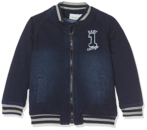 NAME IT Baby-Jungen Sweatshirt Nitbilas LS Dnm Cardigan NB, Blau (Dark Blue Denim), 62
