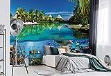 Wallsticker Warehouse Tropisches Inselparadies Dolphins Korallenriff Vlies Fototapete Fotomural - Wandbild - Tapete - 206cm x 275cm / 2 Teilig - Gedrückt auf 130gsm Vlies - 3356VEA - Unterwasser