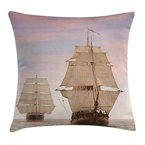 Ocean Throw Pillow Cushion Cover, Sailboat Gaff Top Sail Tall Wooden Sailing Ships Waves Art Print Photo, Decorative Square Accent Pillow Case, 18 X 18 Inches, Cream and Blue Grey - New Wave Cafe