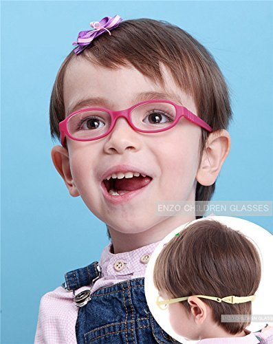 EnzoDate Baby Optical Glasses Frame with Strap, Bendable Boys Girls Infants Eyeglasses, Size 40 (rose) by