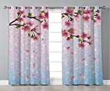 Thermal Insulated Blackout Grommet Window Curtains,House Decor,Sakura Twig Blossom Leaves on Background of Colorful Flying Petals Flourish Artwork,Pink Blue Green,2 Panel Set Window Drapes,for Living Amazon deals