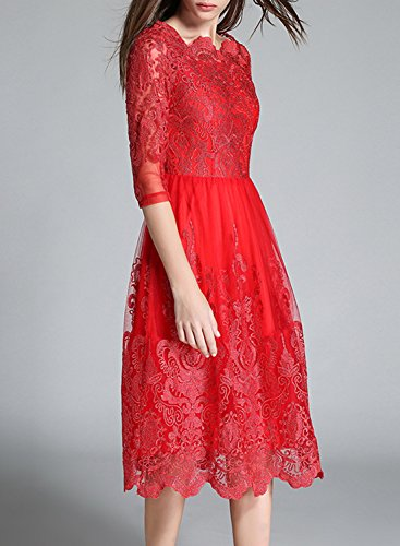 Azbro Women's Mesh Embroidered Cocktail Party Wedding A-line Dress red