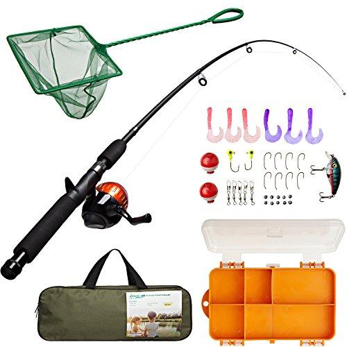 Lanaak Kids Angelrute Combo Set mit Angelbox, Minnow Netz, Reisetasche und Starter-Anleitung (47 Teile) (Rosa Fly Fishing Reel)