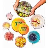 7 pièces en silicone stretch Ensemble de couvercle pour conteneurs, tasses, tasses, fruits et légumes, par Chef Essential (View amazon detail page)