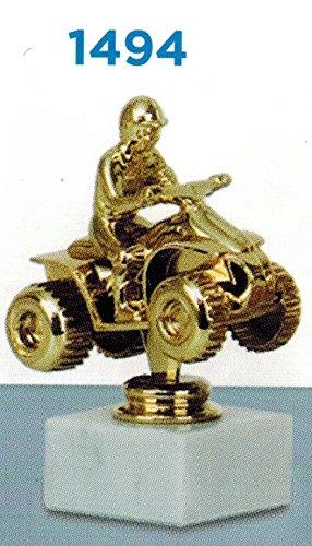 Trophäe premiazioni Quad–Color Gold–H CM 13,5–Frisch–Marmorsockel Gegenstand aus Kunststoff–Made in Italy–Geschenkidee