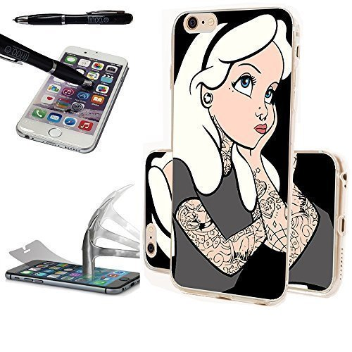 Princess Disney Blonde (FINOO ® | Handyhülle Silikon TPU Transparent mit Panzerglas und GRATIS Touchpen/LED (Iphone 6/6S / Tattoo Girl)