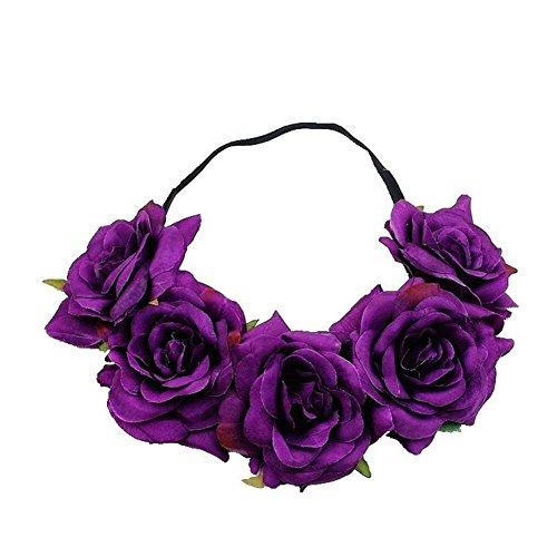 eit Garland Blume Headbands Mädchen Haar Zubehör Hat Ornament Flower Crown Stirnband (5Blumen, rot), Seide, violett, 48 cm (Niedliche Schwester Kostüme)