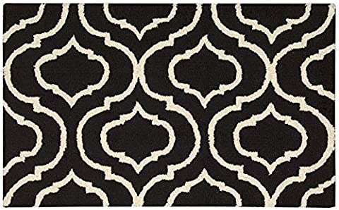 Nourison Teppich Mondrian 99446279866–Schwarz/Weißer handgewebt Teppich, schwarz/weißer, 3ft 9Zoll x 5ft 9Zoll