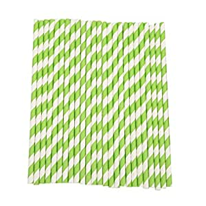 RuiChy 25Pcs Striped Paper Drinking Straws Wedding Party Decoration Green