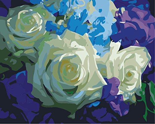 Fuumuui DIY Vorgedruckt Leinwand-Ölgemälde Geschenk für Erwachsene Kinder Malen Nach Zahlen Kits Home Haus Dekor - Weiße Rose 40*50 cm