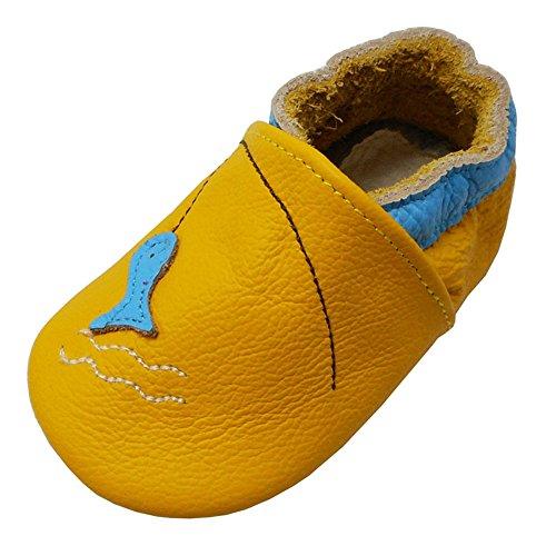 Yalion Baby Weiche Leder Lauflernschuhe Krabbelschuhe Hausschuhe Lederpuschen Fischen (22/23, Gelb)