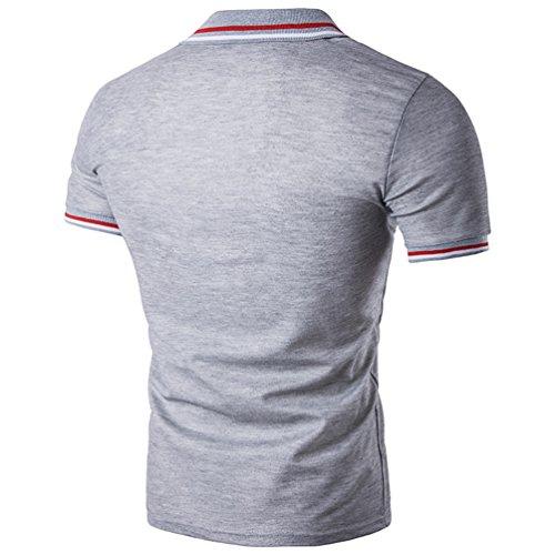 CHENGYANG Uomo Estate Casual Striscia Scollo manica corta Magliette Polo T-shirt Tops Luce Grigio
