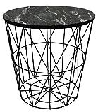 Metall Draht klein Nachttisch, gelegentlichen, Lampe Tisch mit Lift Off Marmor Design Deckel