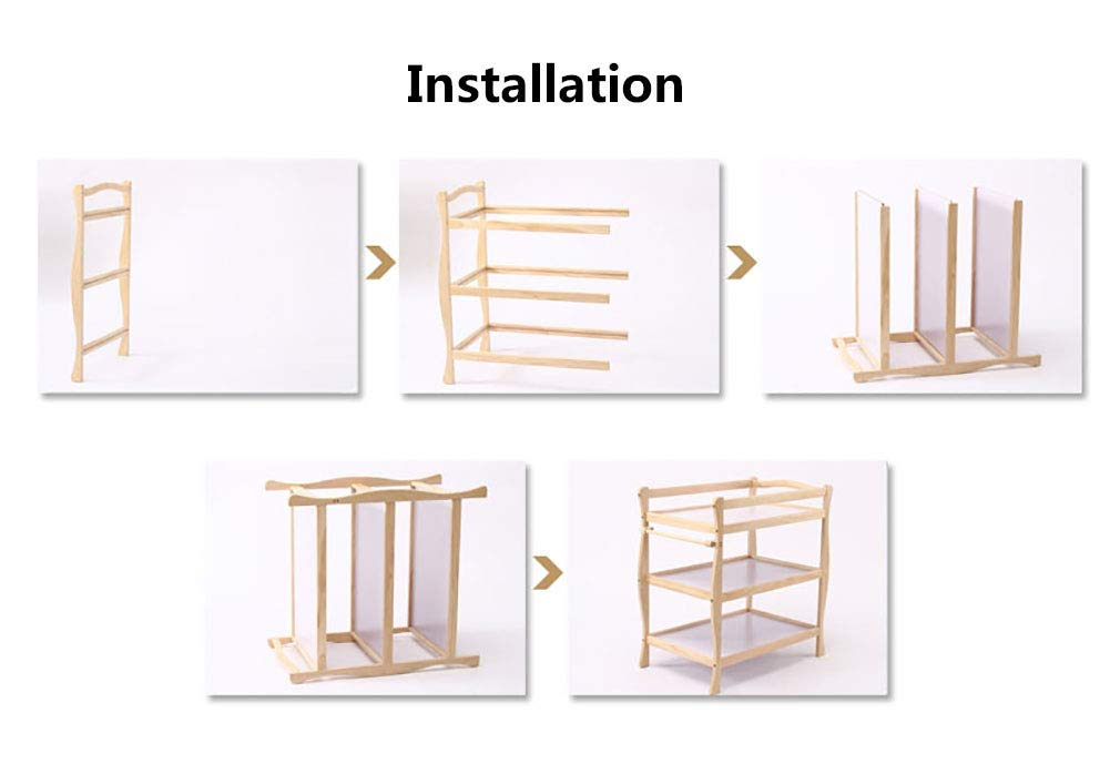 Children Changing Table with Casters Wooden, Diaper Storage Nursery Station with Pad for Newborn/Infant GUYUE Silent caster with brake. Safety rails enclose all four sides of the changing area Strong and sturdy wood construction: Pine + solid wood paint free board. 9