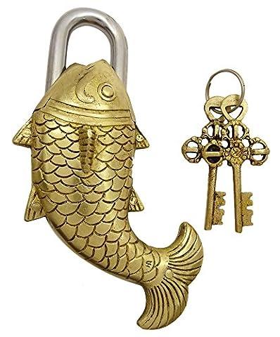 Dekorative Messingmetall Big Fisch Form Vorhängeschloss mit 2 Schlüsseln Sicherheit Decor Verschluss