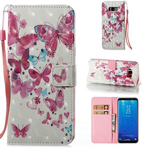 Funda Samsung Galaxy S8 Plus, Ecoway 3D Pintado Cuero de la PU Leather Cubierta, Función de Soporte Billetera con Tapa para Tarjetas Soporte para Teléfono para Samsung Galaxy S8 Plus- Grupo de mariposas
