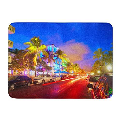 Soefipok Badematte Flanellstoff Weiches, saugfähiges Material Miami Beach South Sunset im Ocean Drive Florida und Autolichter Gemütlicher, dekorativer, Rutschfester Badteppich