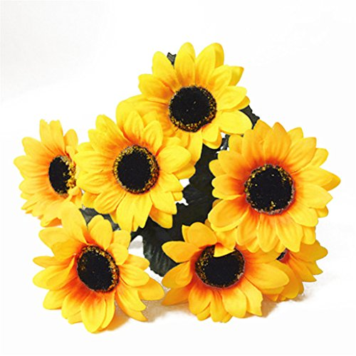 Sonnenblumen Seide Faux (display081Bouquet 7Köpfe Kunstblume Sonnenblume aus Seide Home Hochzeit Decor)