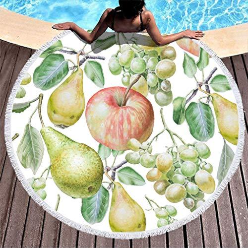 Apfel und Birne Quaste Größere Runde Yoga Blanket with Quaste - Obst Kunst hohe Farbechtheit Außenmatte Durchmesser 150cm für Picknickdecke White 150cm